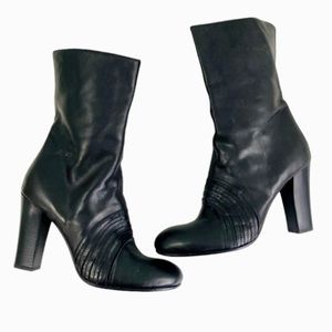 Miss Sixty Leather Heeled Round Toe Boots SZ 39